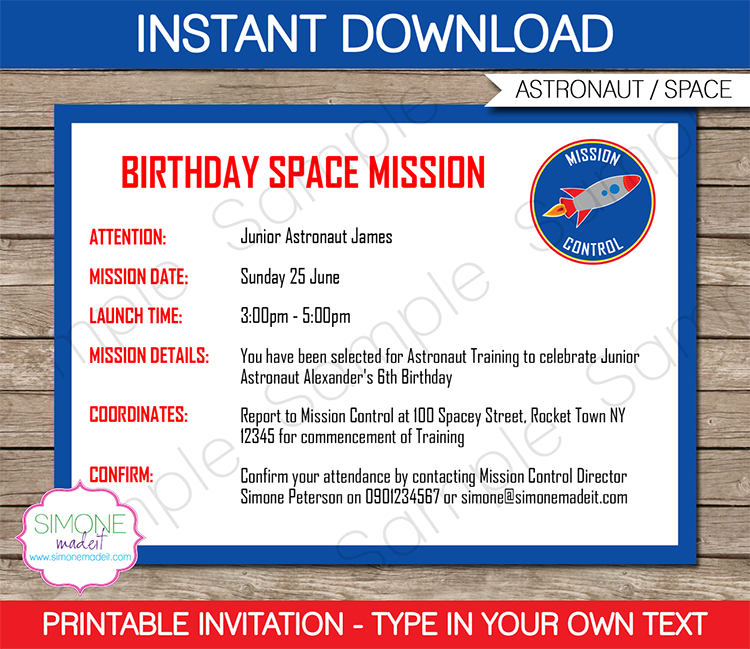 Space Party Printables, Invitations & Decorations Space