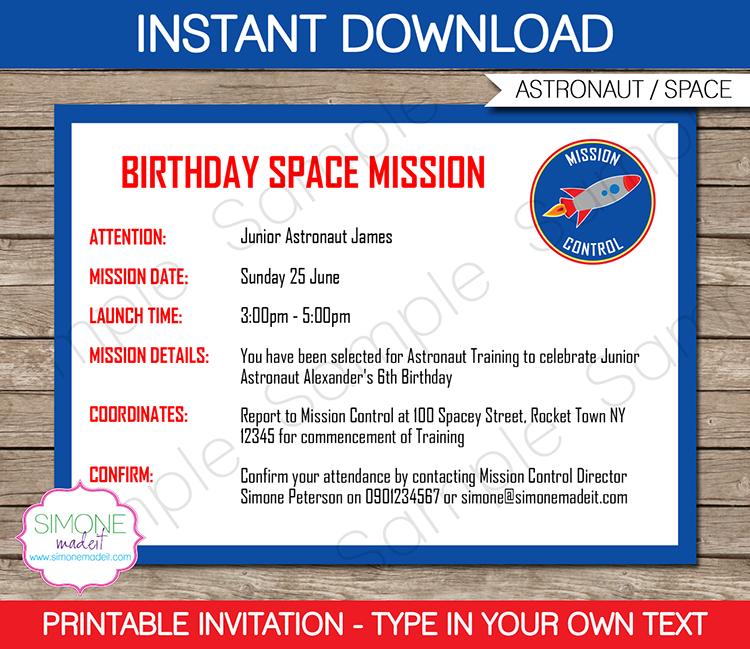 cute invitationbirthday space mission astronaut training