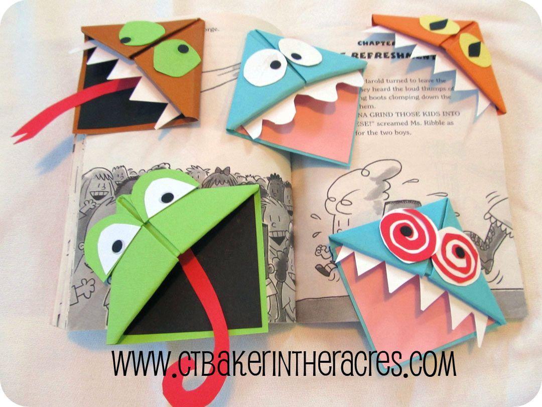 Детские закладки из бумаги в виде монстров