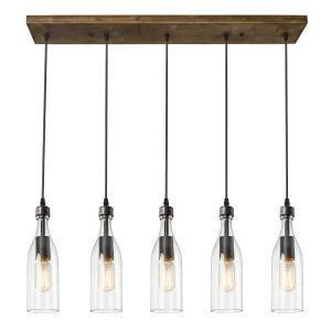 Lnc 5 Light Rustic Bronze Chandelier With Clear Glass Bottle Shade A02982 Wood Pendant Light Bottle Chandelier Ceiling Lights