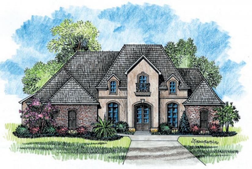 Superior #653725   1 Story 5 Bedroom French Country House Plan : House Plans, Floor