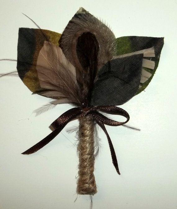 Non-floral boutonniere in camouflage, so many design possibilities! found on.etsy.com