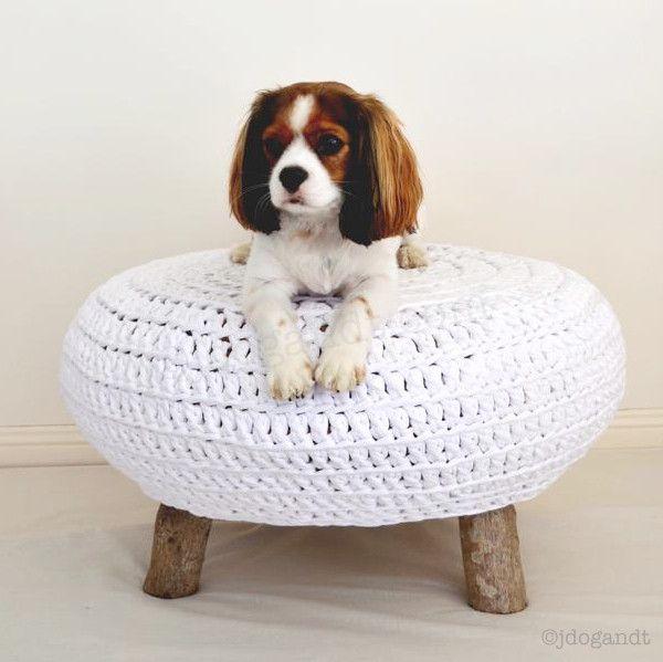 Shop - JDog & T crochet ottoman foot stool natural tree legs ...