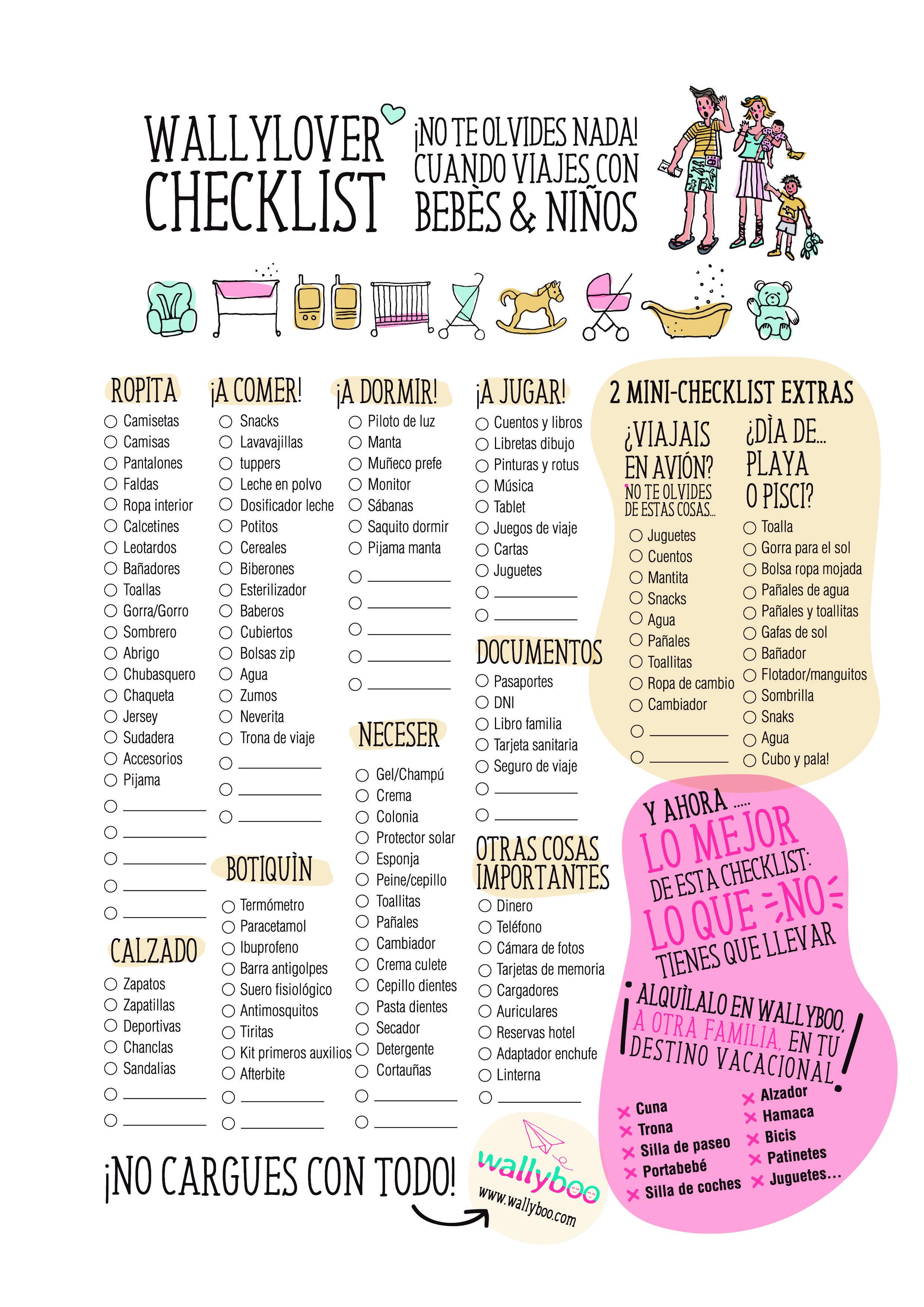 Checklist Para Viajar Con Bebés Y Niños No Te Olvides De Nada Una Lista Completa Con Viajar Con Bebés Listas Para Hacer La Maleta Lista Para Hacer La Maleta