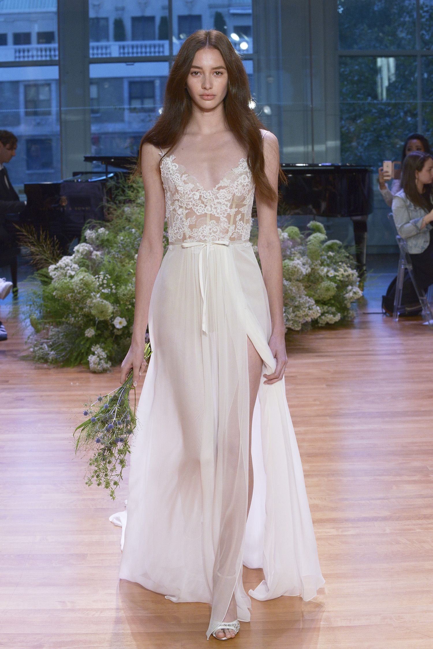 Monique Lhuillier Fall 2017, plunging neck line, sheer wedding ...