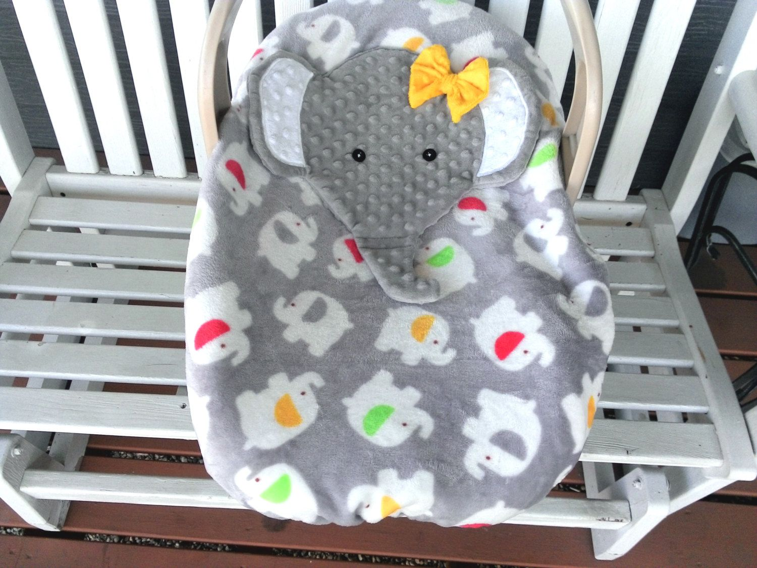 Made To Order Girls Appliqued Elephant Infant Baby Carrier Cover Soft Grey Velour FleeceMinky By Lindasnd On Etsy