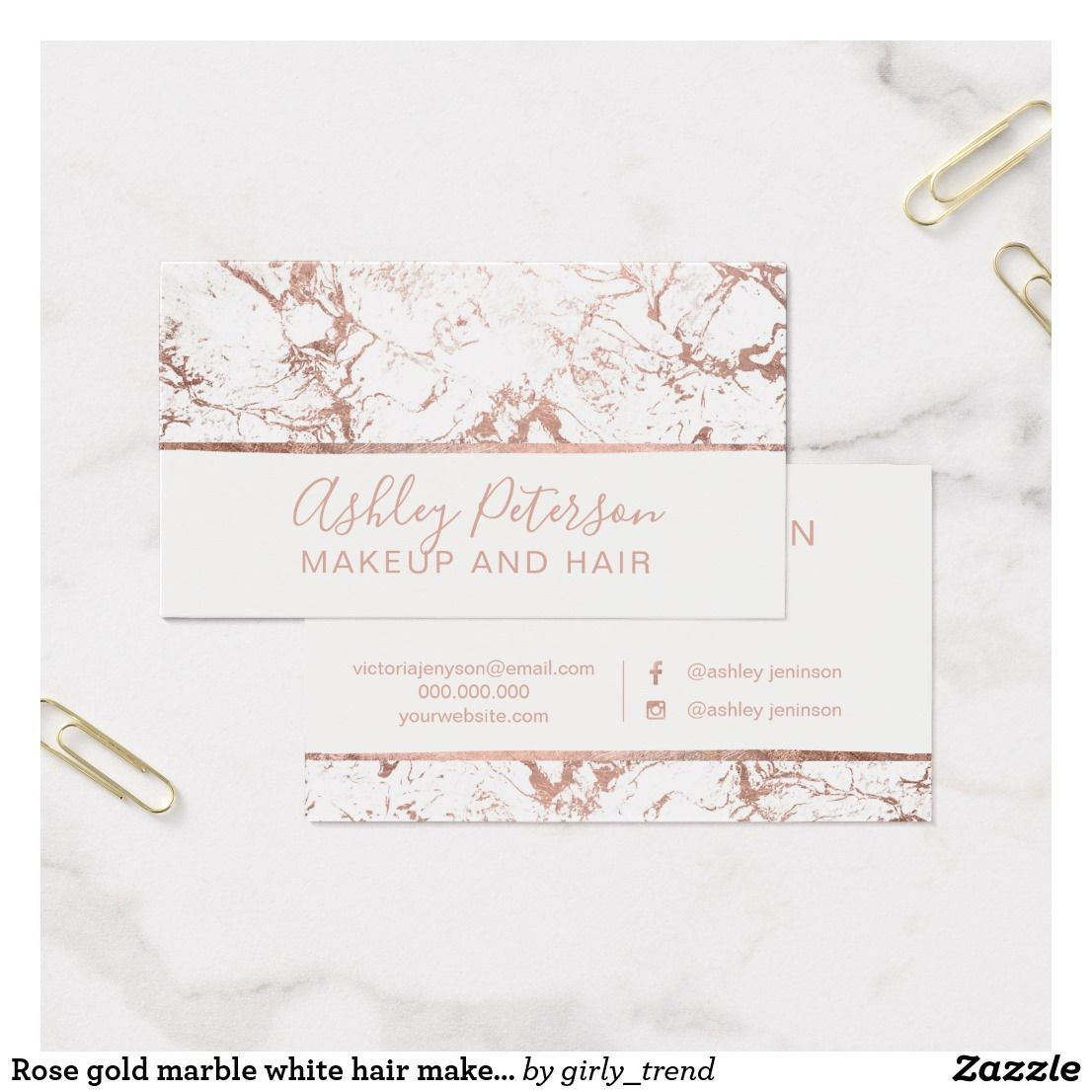 Rose gold marble white hair makeup typography business card rose gold marble white hair makeup typography business card magicingreecefo Gallery
