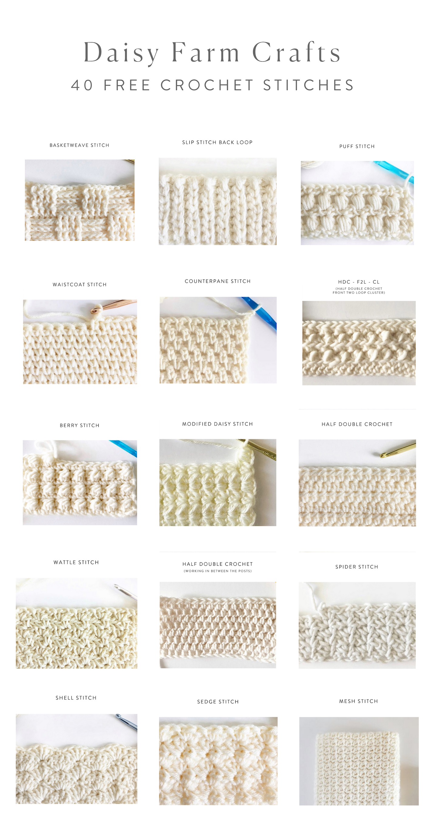 40 Free Crochet Stitches From Daisy Farm Crafts 40 Free Crochet Stitches from Daisy Farm Crafts Crochet Techniques crochet techniques