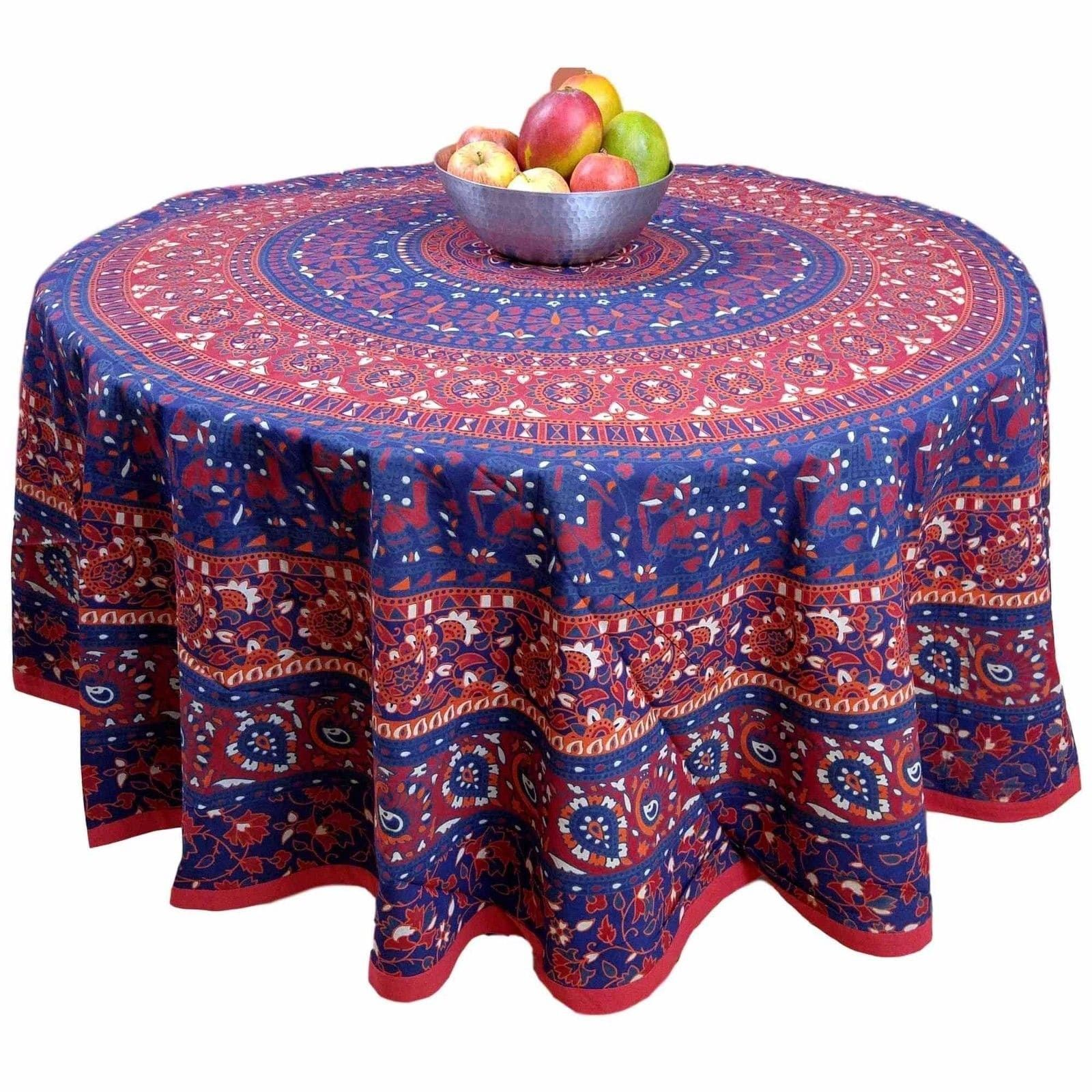 Handmade cotton elephant mandala floral round tablecloth