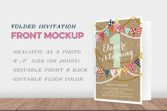 Folded Invitation Front Mockup by Hype Your Prints on Creative - birthday invitation card template photoshop