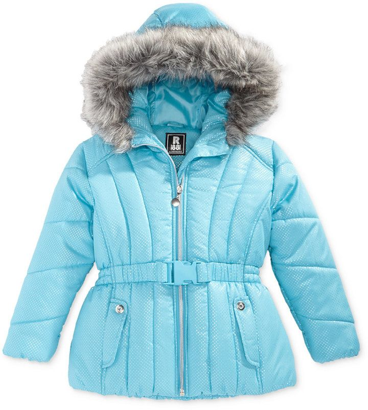 e4fea7a15 S. Rothschild Foil-Dot Belted Puffer Jacket with Faux-Fur Trim ...