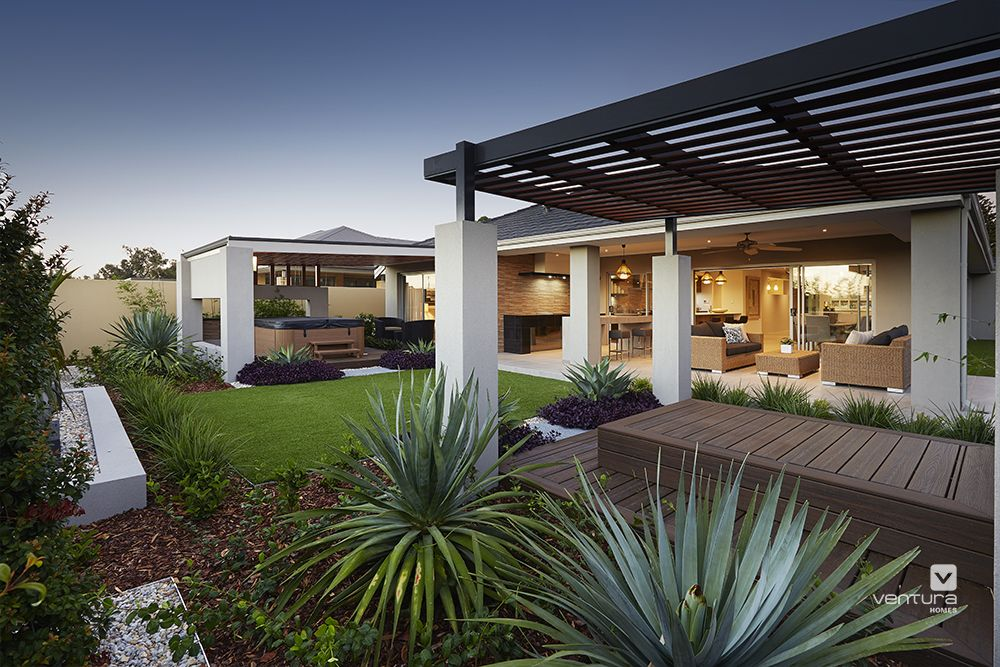 Alfresco Patio Backyard Design The Sanctuary Display Home By VenturaHomes Features An Outdoor Hot Tub