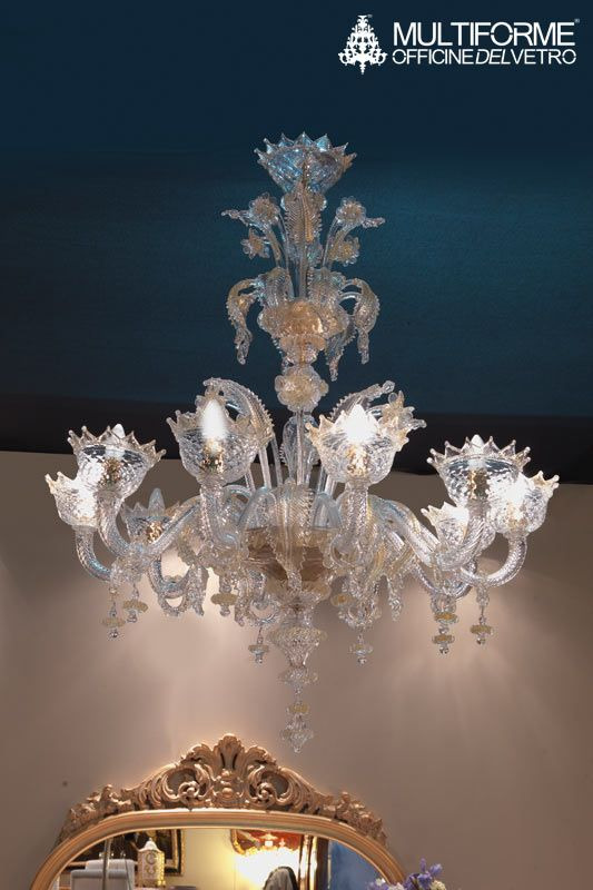 #Classic #Venetian #Artistic glass #Chandelier. Crystal color body with gold details. Enriched crest.