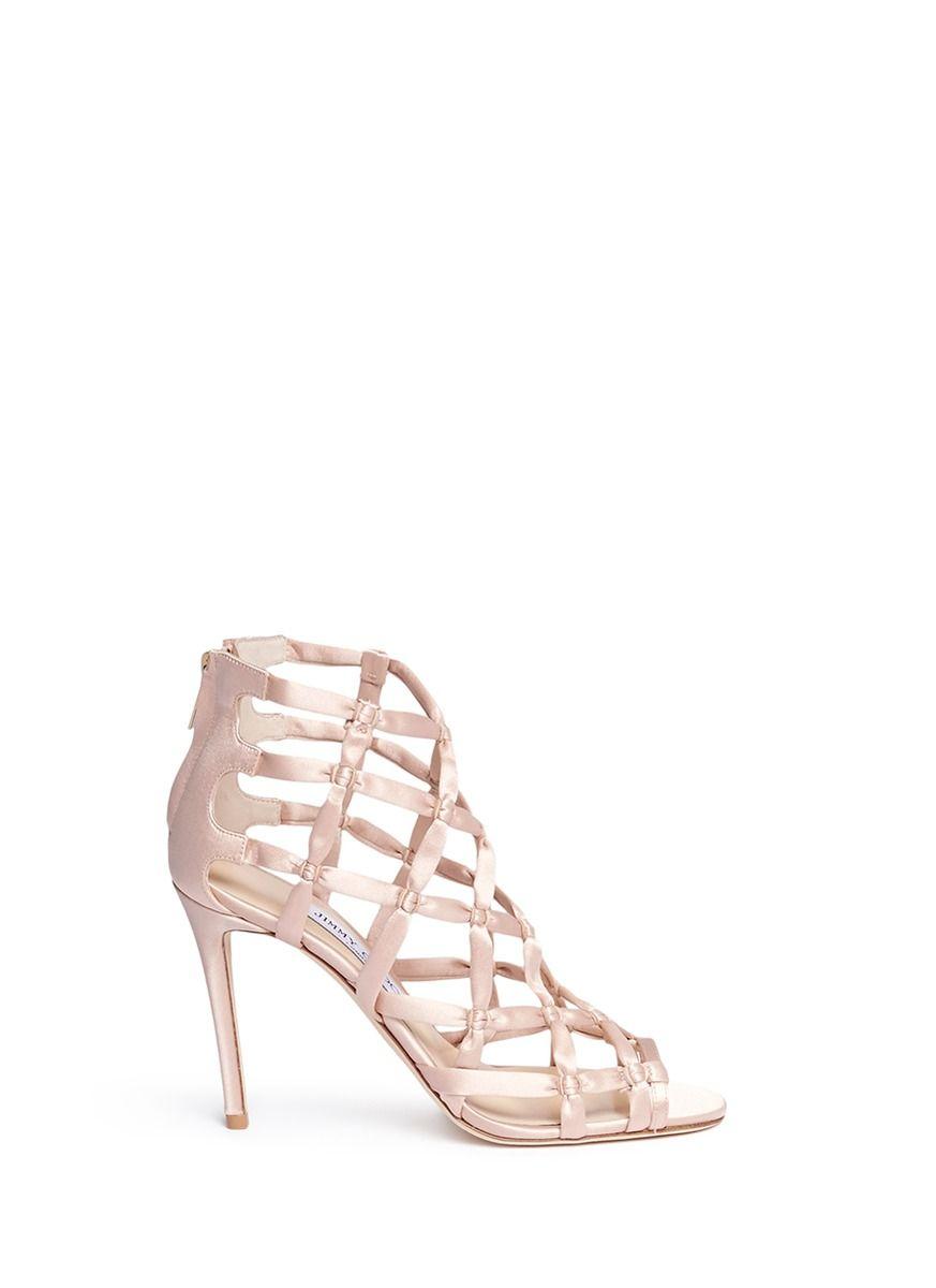 JIMMY CHOO 'Violet 100' knotted satin sandals. #jimmychoo #shoes #sandals