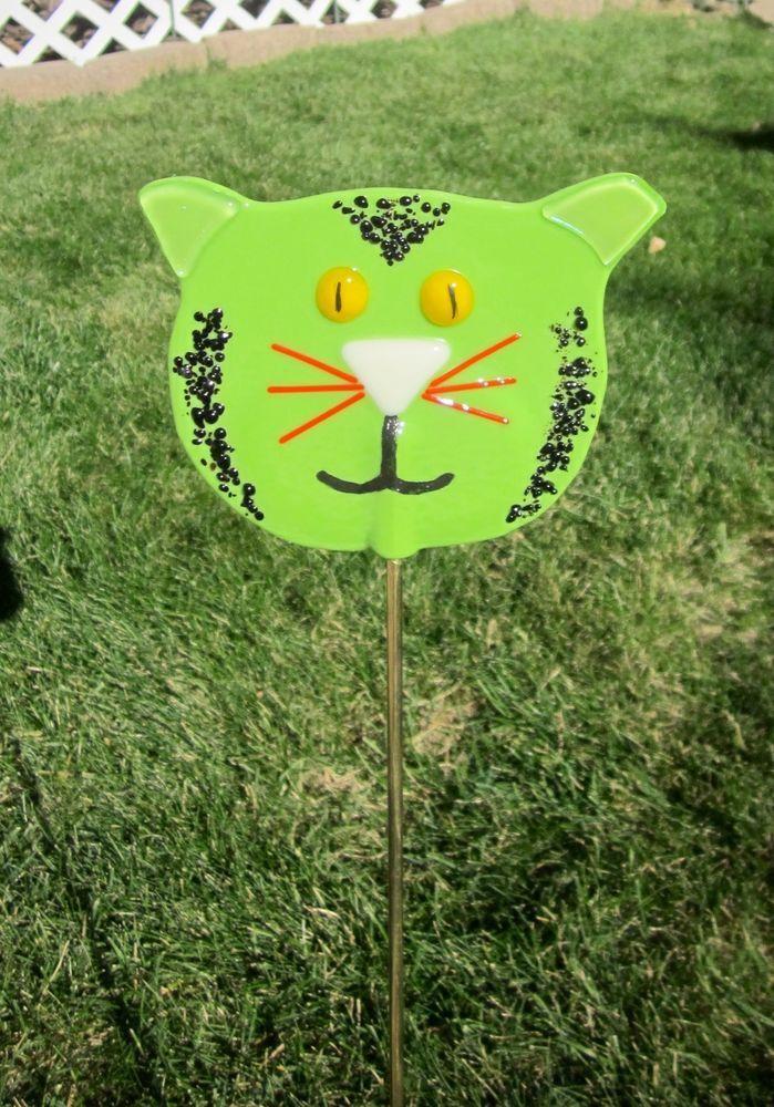 Cat, Green Garden Stake, Fused Glass, Handmade Yard Art   I OWN A ...