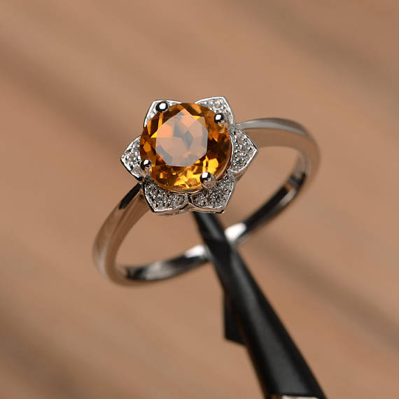 yellow gemstone natural citrine ring engagement ring round cut sterling silver ring November birthstone