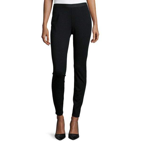 Eileen Fisher Stretch Ponte Leggings (6.005 CZK) ❤ liked on Polyvore featuring pants, leggings, black, ponte leggings, stretch ponte pants, ponte knit leggings, stretch trousers and stretchy pants