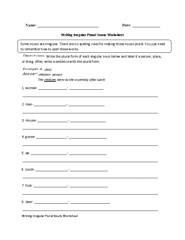 Writing Irregular Plural Nouns Worksheet Advanced | STUFF | Pinterest