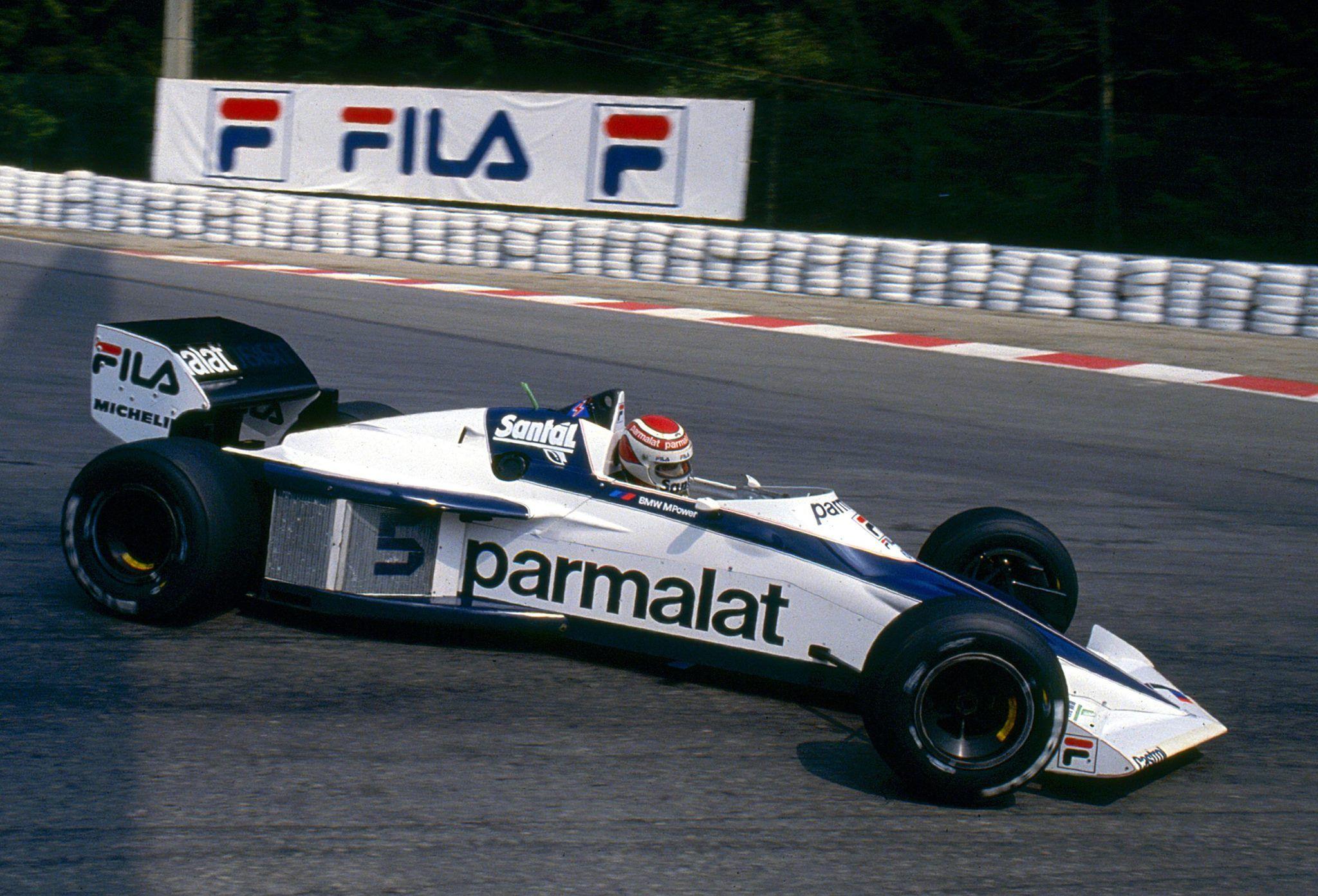 Nelson Piquet, Parmalat Racing Brabham BT52, gets his car sideways ...