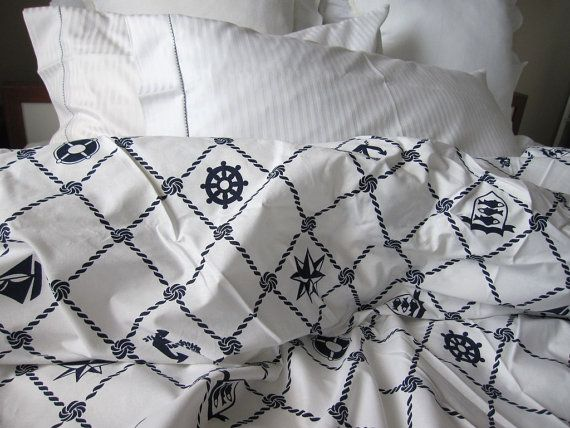 Rope Navy White Plaid Nautical Duvet Cover Twin Full Double Queen
