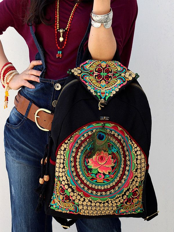 Tribal stylewith vintage embroidered piecevintage redesignBackpack CanvasComputer bag  leisure bagbackpack Hmong