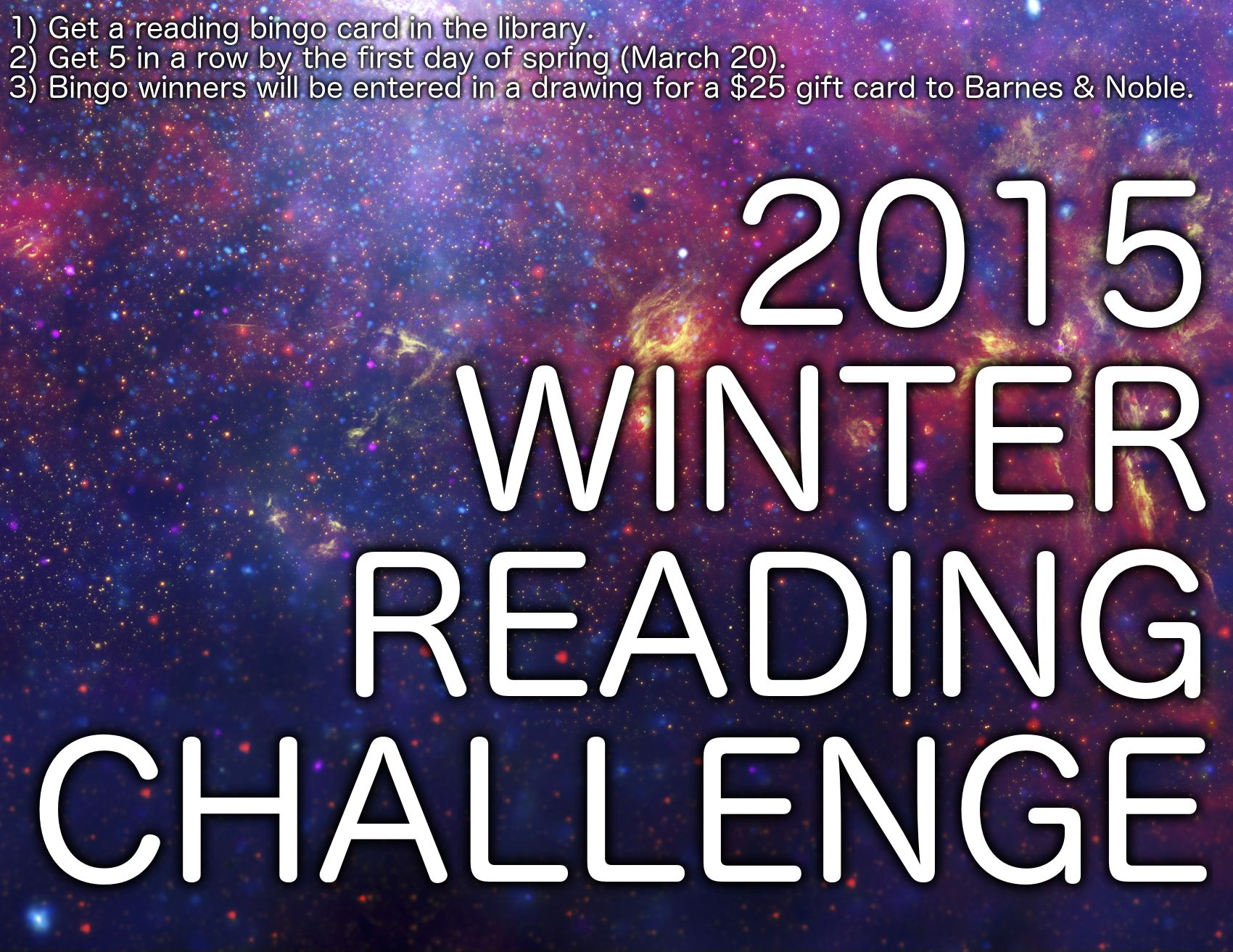 The Winter Reading Challenge Is On Get 5 In A Row On A Reading