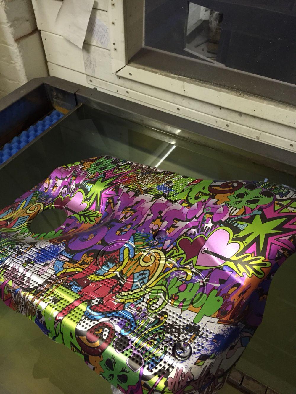 Audi Engine Cover Hydro Dipped in hip hop graffiti pattern