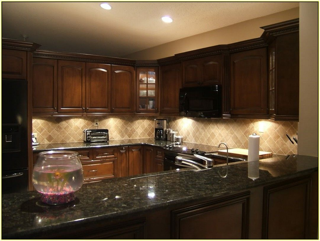 77+ Granite Countertops with Tile Backsplash Ideas ... on Backsplash For Dark Granite Countertops  id=94682