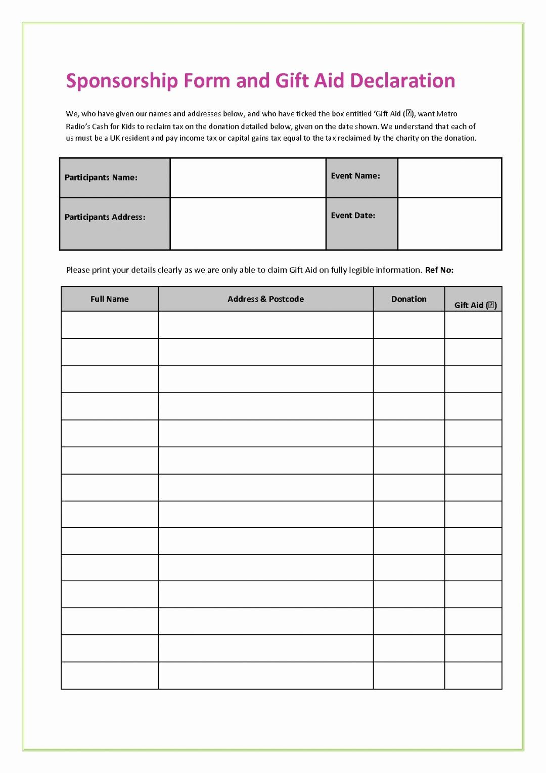 Sponsorship Form Template Word In 2020 Template Free Templates