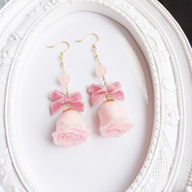 Angelic Rosary Dream Earring  with natural rose