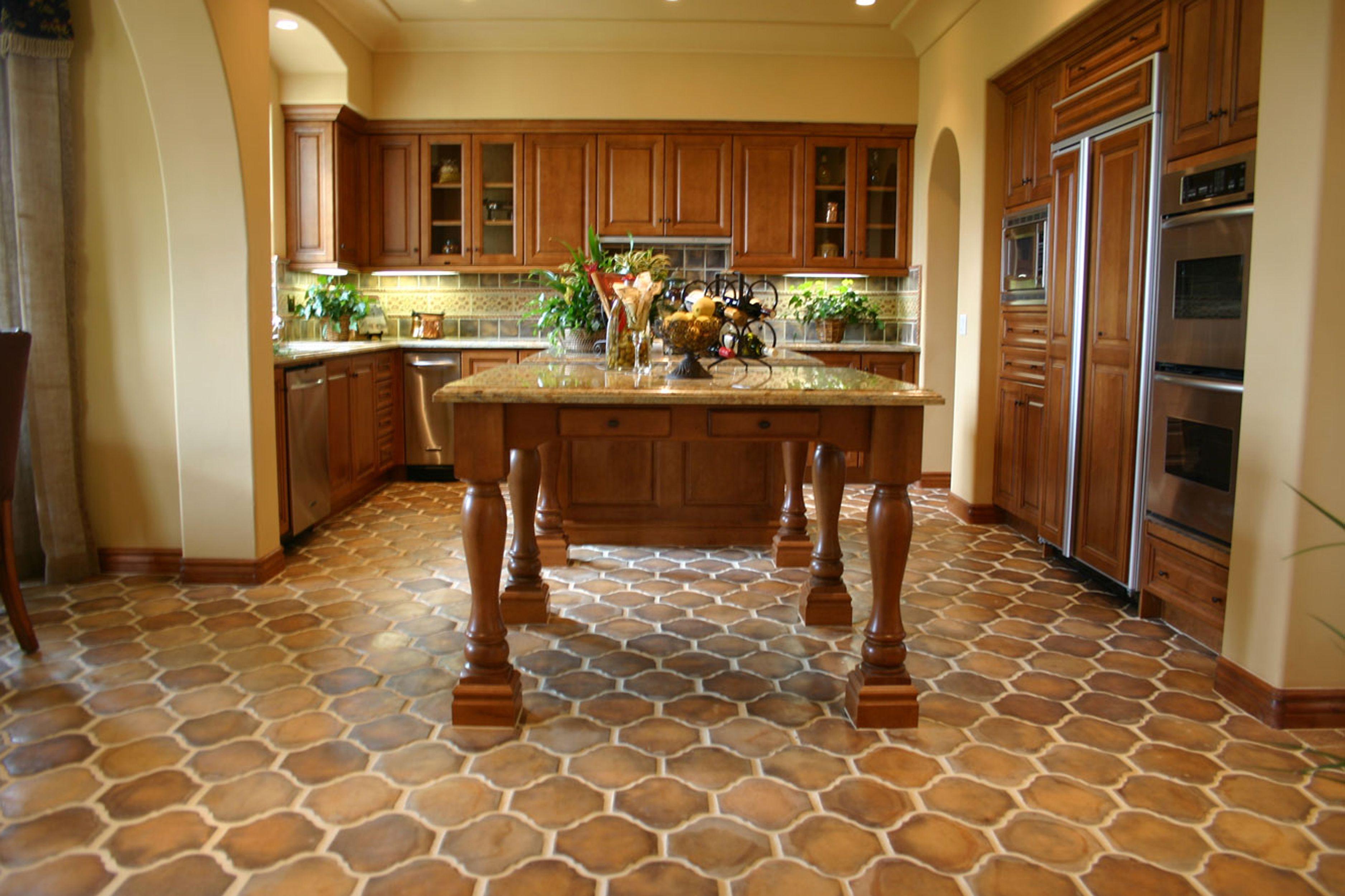 Ann Sacks Hacienda 9 X 11 1 4 San Felipe Pillowed Concrete Field In Tuscan Mustard Saltillo Tile Concrete Tiles Brown Floors