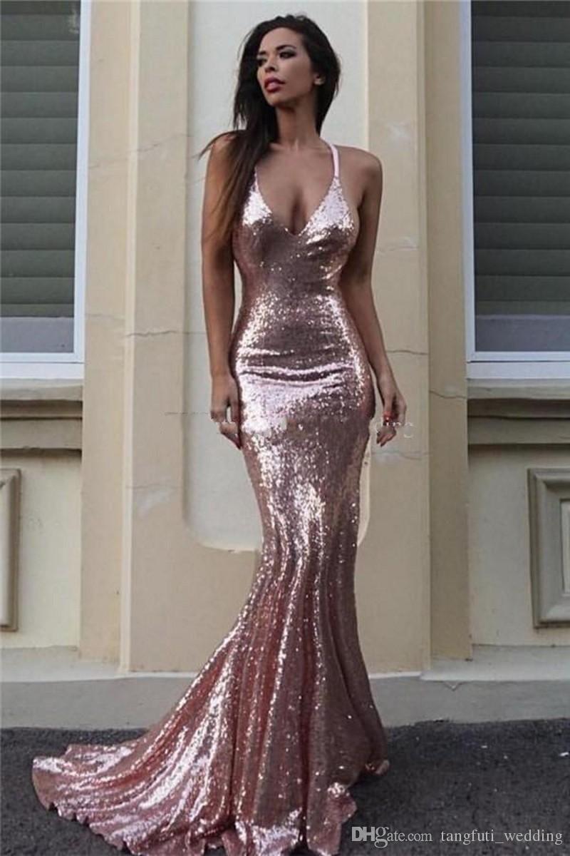 07021075bdbf Rose Gold Sequin Mermaid Evening Dresses Sparkle V Neck Spaghetti Straps  Backless Silver Prom Dresses Gold Evening Gowns Criss Cross Back