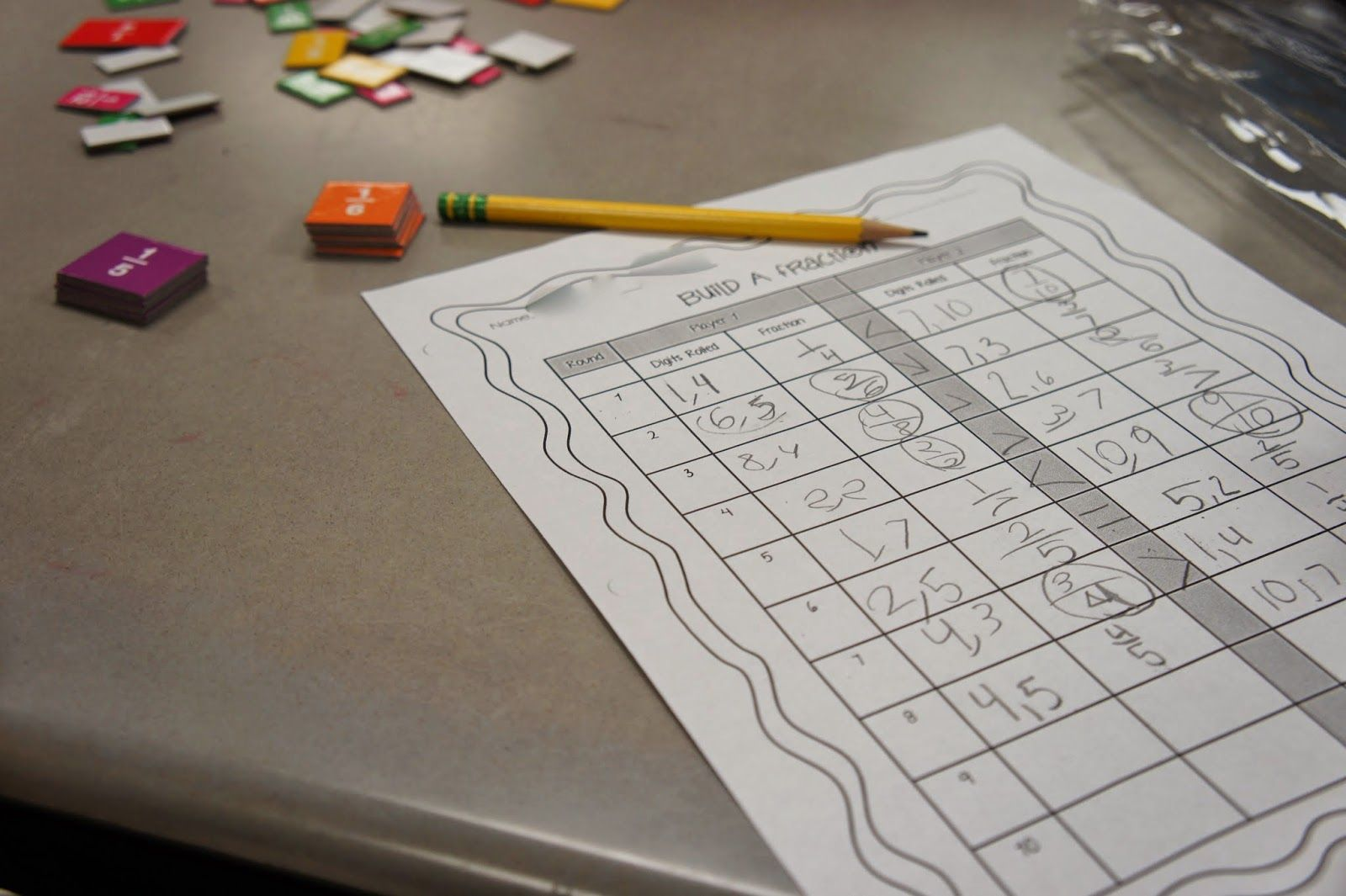 Comparing Fractions Game Using Dice Fraction Tiles And A