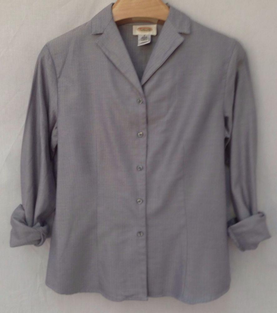 Talbots houndstooth blue white top shirt blouse sz talbots