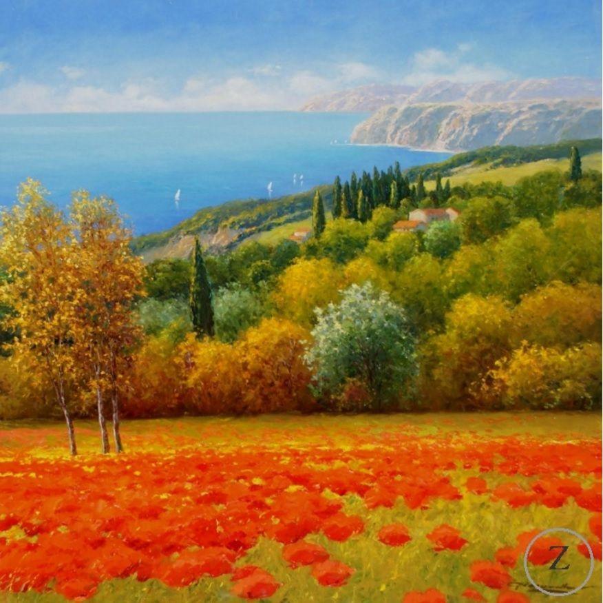 """Poppies to the Sea"" by Gerhard Nesvadba 35"" h X 35"" w  #gerhardnesvadba #zantman  http://ow.ly/VqZN5"