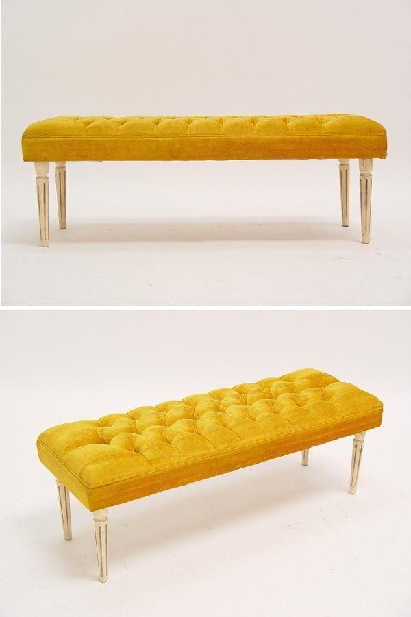 Yellow Velvet Bench Google Search Interior Design Furniture Tufted Bench Home Decor