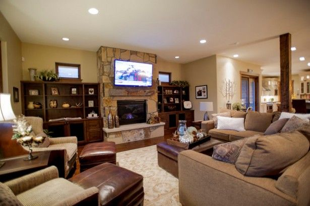Interior Design for Family Room with Stone Fireplace Home Design