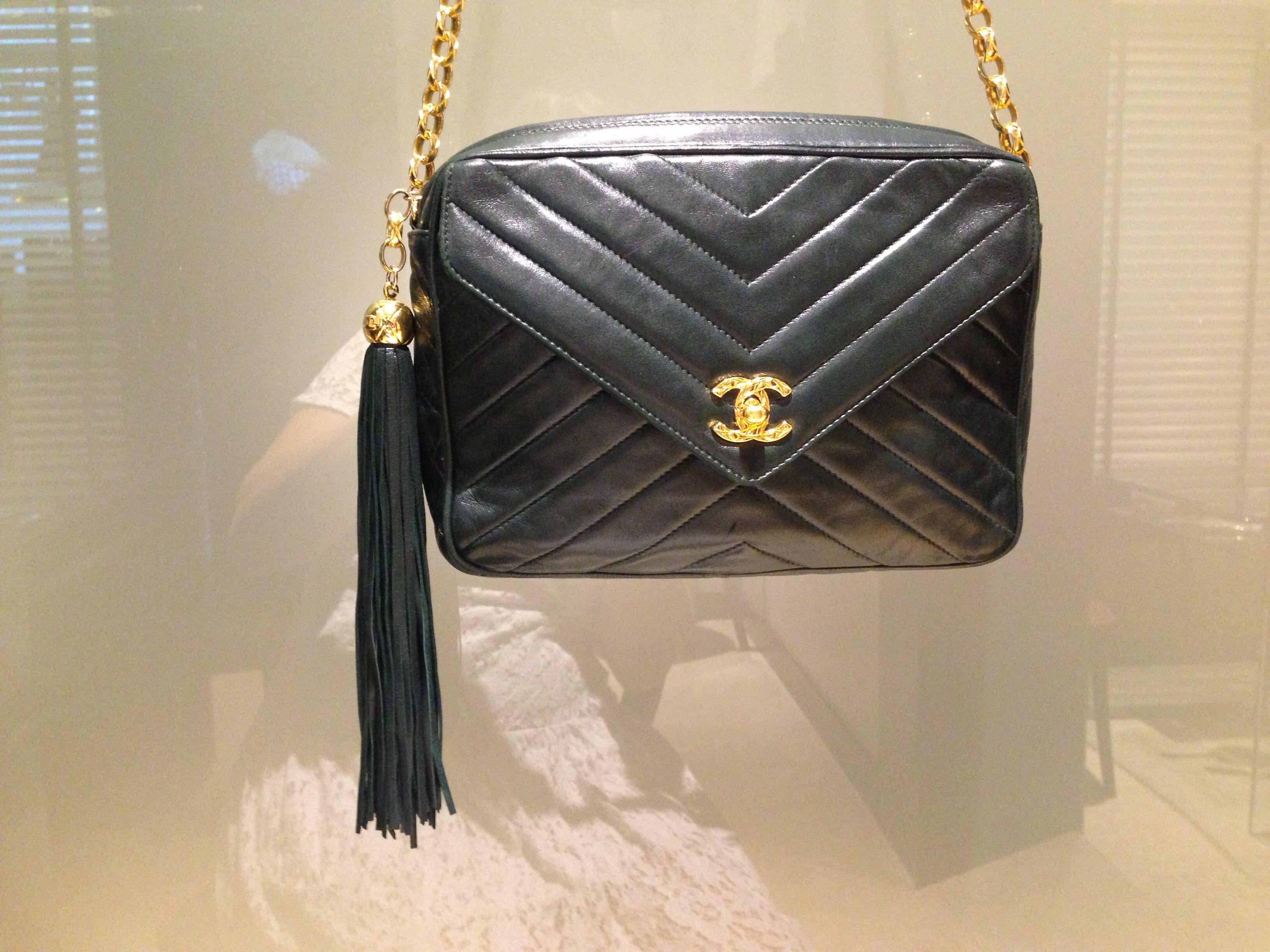 Chanel handbag superb vintage chanel bag vintage leather - Vintage Chanel Dark Green Camera Bag With Tassel