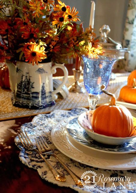 A Thanksgiving Table ~ Blue and White Inspired