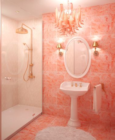 The Color Orange Works Best In Small Amounts Peach Bathroom