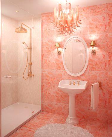 Bathroom Color Schemes Peach, What Colours Go With Peach Bathroom Tiles