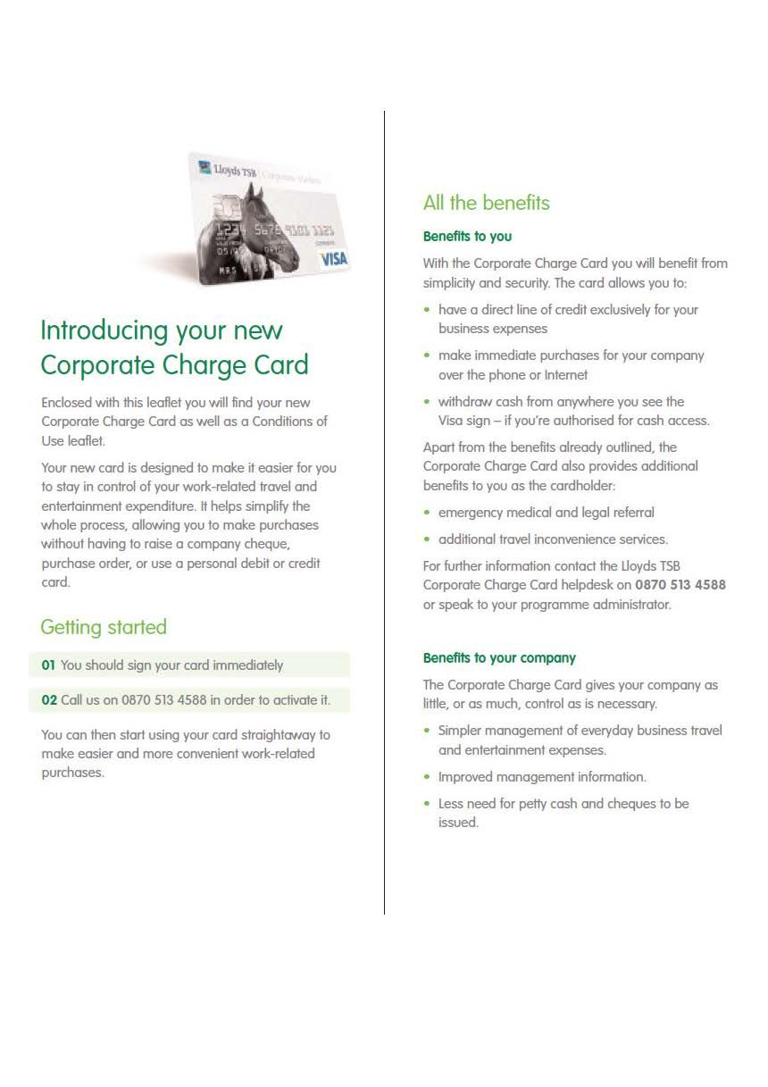 Lloyds TSB Corporate Charge Card leaflet for business customers | My ...