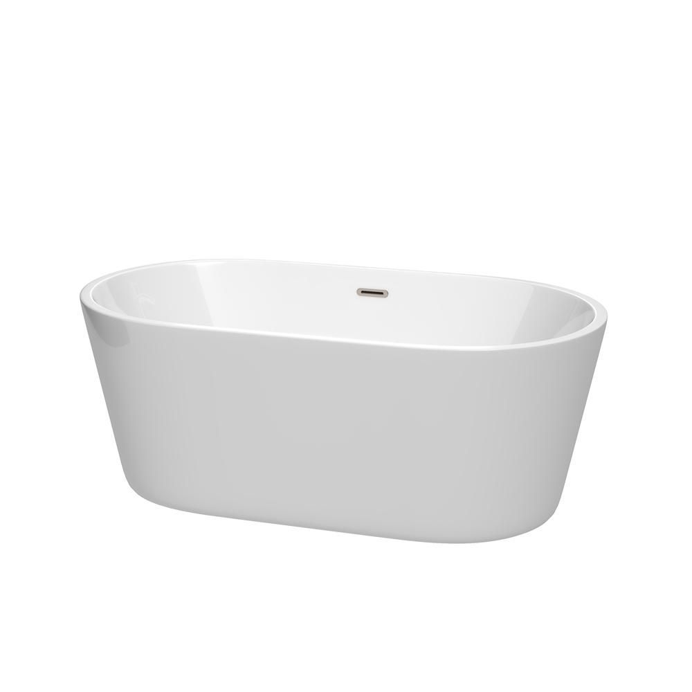 Wyndham Collection Carissa 5 ft. Acrylic Flatbottom Non-Whirlpool ...