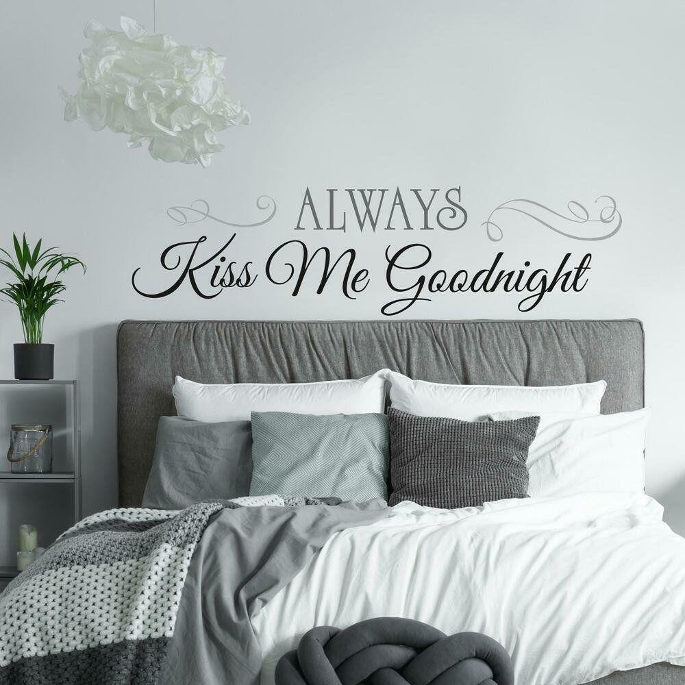 Always Kiss Me Goodnight Peel Stick Wall Decals Walmart Com In 2021 Wall Decals Bedroom Decor Wall Decor Bedroom