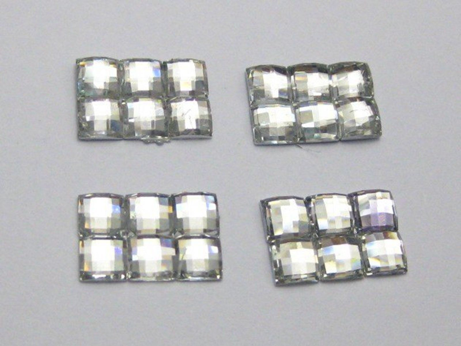 200 Clear Mosaics 4Mm Square Flatback Rectangle Rhinestone Gems 12X8Mm No Hole