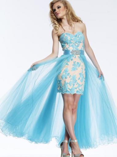 Blue High Low Formal Dress Plus Size Prom Dress Homecoming Dress