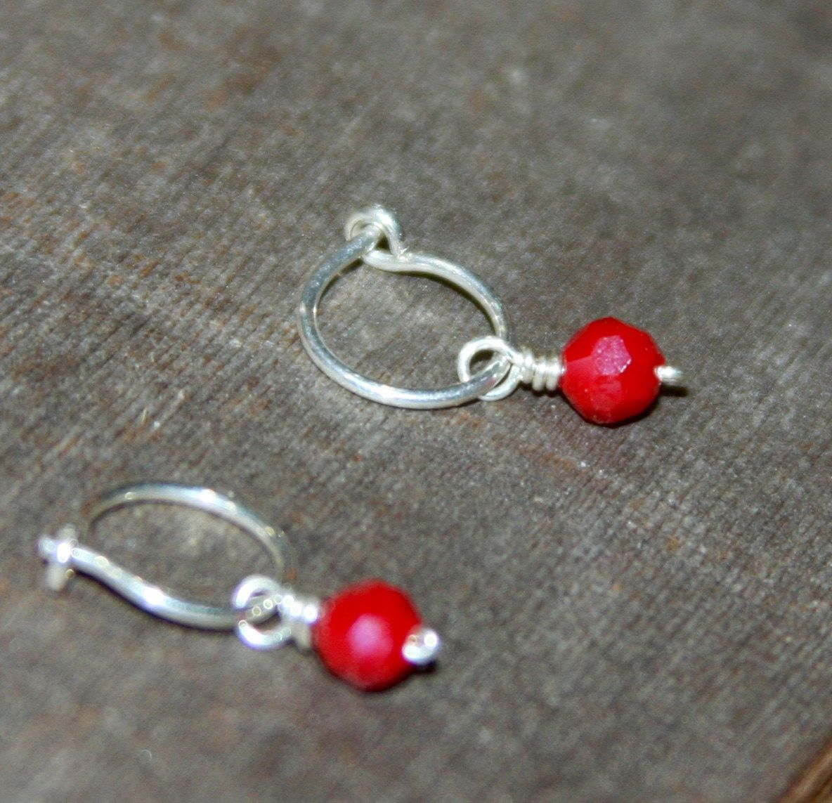 Small Cartilage Hoop Earrings, Red Crystal Hoop Earrings, Nose Hoop, Ear  Cuff,