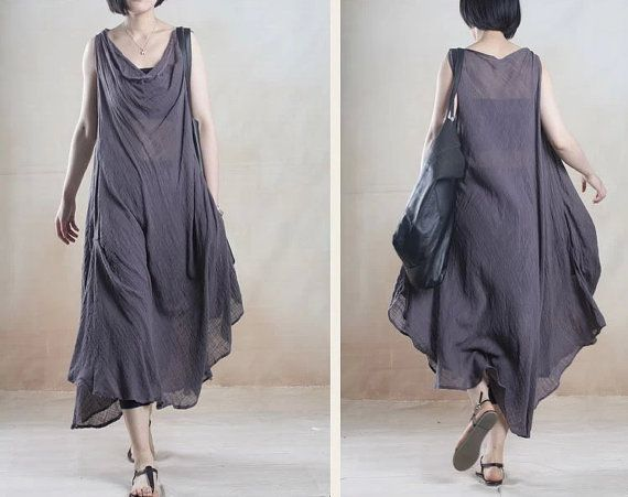 Women Linen Flax Plus Size Dress Long Dress  Maxi Dress Irregular Dress Casual Loose Dress Summer Dress Boho Dress Long Skirt/Black and Gray
