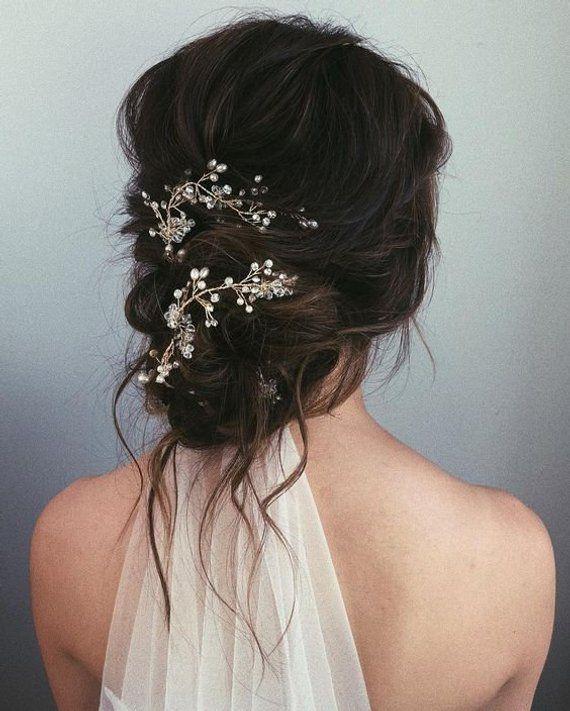 Bridal Headpiece Wedding Hair Vine Bridal Jewelry Crystal Vine Gold Wreath Crystal Headpiece Pearl…