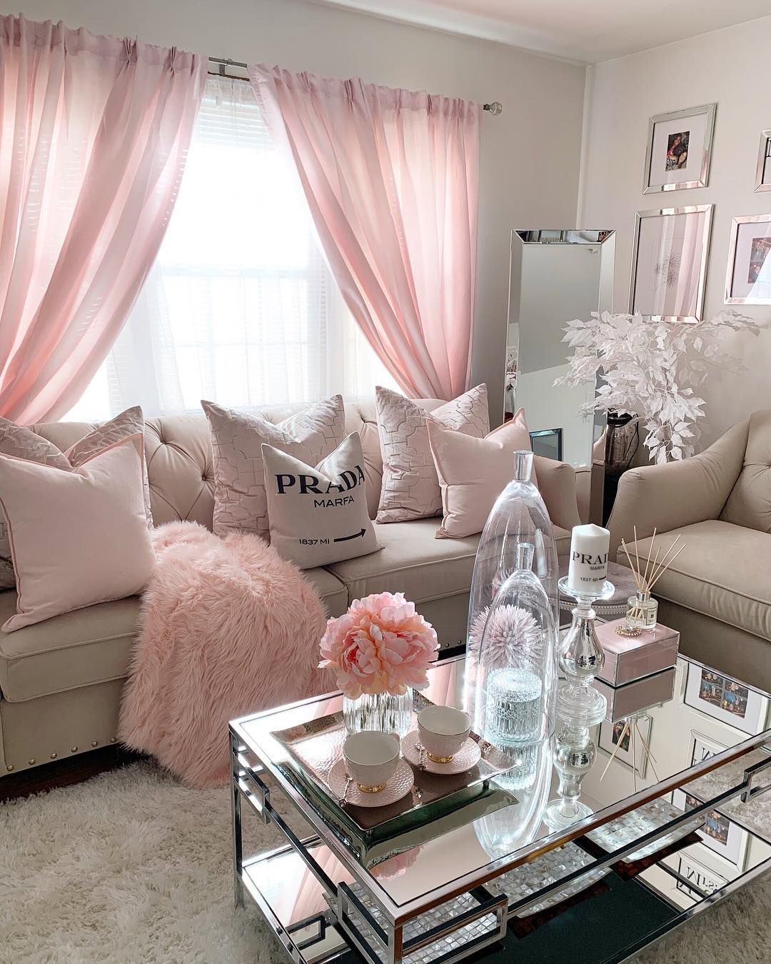 This Pretty In Pink Room From Homeby Trina Is All We Need For Mondaymotivation What S Classy Living Room Living Room Decor Apartment Small Living Room Decor